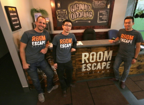 Ramsay Jackson, Qi Hu, and Brian Seto, the three co-founders of Room Escape Ottawa and Archery Games Ottawa. All photos by Kenneth Ingram.